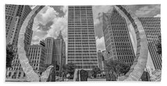 Detroit Hart Plaza And Cityscape  Hand Towel