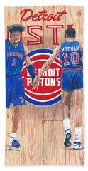 Detroit Hustle - Ben Wallace And Dennis Rodman Bath Towel