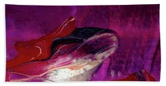 Devilfish Art - Purple Vibrant Underwater Abstract Painting Bath Towel