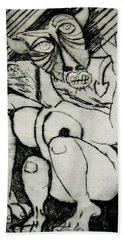 Devils Horse Hand Towel by Thomas Valentine