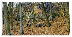Devils Lake Rock Formation  Bath Towel