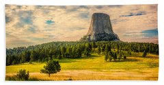 Bath Towel featuring the photograph Devil's Tower - The Other Side by Rikk Flohr