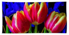 Dew Covered Tulips And Iris Bath Towel