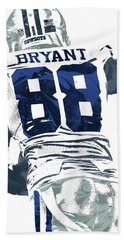 Bath Towel featuring the mixed media Dex Bryant Dallas Cowboys Pixel Art 6 by Joe Hamilton