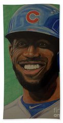 Hand Towel featuring the drawing Dexter Fowler Portrait by Melissa Goodrich