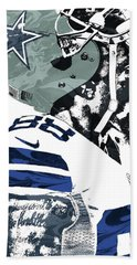 Bath Towel featuring the mixed media Dez Bryant Dallas Cowboys Pixel Art 4 by Joe Hamilton