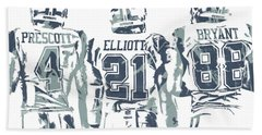 Dez Bryant Ezekiel Elliott Dak Prescott Dallas Cowboys Pixel Art Hand Towel