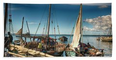Dhow Sailing Boat Bath Towel by Amyn Nasser