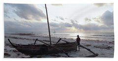 Dhow Wooden Boats At Sunrise With Fisherman Hand Towel