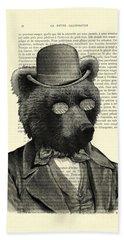Bear Portrait - Animals In Suits Hand Towel