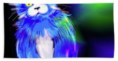 Hand Towel featuring the painting Diego Blue Dizzycat by DC Langer