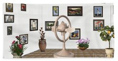 digital exhibartition _ Statue of fish 3 Hand Towel