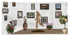 digital exhibition   sculpture of  posing  Girl 32  Bath Towel