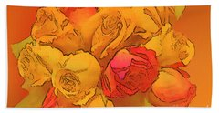 Digital  Rose Bouquet Painting Bath Towel