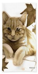 Digitally Enhanced Cat Image Bath Towel