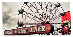 Diner Car Ferris Wheel Square Format Hand Towel
