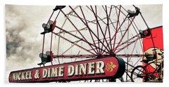 Diner Car Ferris Wheel Square Format Bath Towel