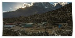 Bath Towel featuring the photograph Dingboche Evening Sunrays by Mike Reid