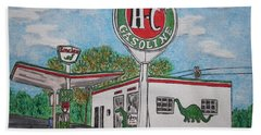 Hand Towel featuring the painting Dino Sinclair Gas Station by Kathy Marrs Chandler