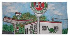 Dino Sinclair Gas Station Bath Towel by Kathy Marrs Chandler