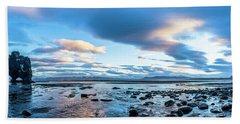 Dinosaur Rock Beach In Iceland Bath Towel by Joe Belanger
