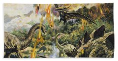 Dinosaurs And Volcanoes Bath Towel