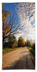 Bath Towel featuring the photograph Dirt Road And Sky In Fall by Lars Lentz