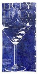 Dirty Dirty Martini Patent Blue Hand Towel by Jon Neidert