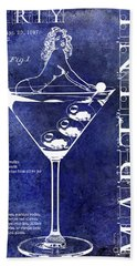 Dirty Martini Patent Blue Hand Towel by Jon Neidert