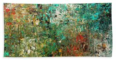 Bath Towel featuring the painting Discovery - Abstract Art by Carmen Guedez