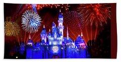 Disneyland 60th Anniversary Fireworks Bath Towel by Mark Andrew Thomas