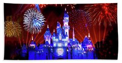 Disneyland 60th Anniversary Fireworks Bath Towel