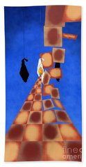 Disrupted Egg Path On Blue Hand Towel