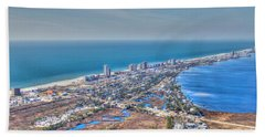 Distant Aerial View Of Gulf Shores Hand Towel
