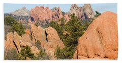 Distant Garden Of The Gods From Red Rock Canyon Bath Towel