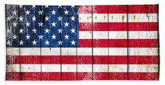 Distressed American Flag On Wood Planks - Horizontal Hand Towel