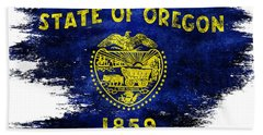 Distressed Oregon Flag Hand Towel by Jon Neidert