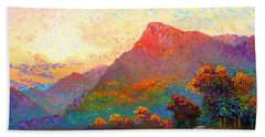 Hand Towel featuring the painting  Buddha Meditation, Divine Light by Jane Small