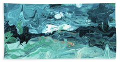 Diving In- Abstract Art By Linda Woods Bath Towel