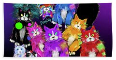 Bath Towel featuring the painting Dizzycats by DC Langer