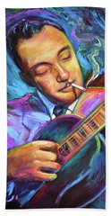 Bath Towel featuring the painting Django Reinhardt  by Robert Phelps