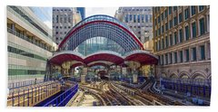 Dlr Canary Wharf And Approaching Train Hand Towel by Venetia Featherstone-Witty