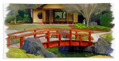 Do-00006 Cypress Bridge And Tea House Bath Towel by Digital Oil