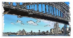 Bath Towel featuring the photograph Do-00058 Sydney Harbour Bridge And Opera House by Digital Oil