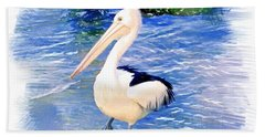Do-00088 Pelican Bath Towel by Digital Oil