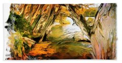 Bath Towel featuring the photograph Do-00268 Trees On Water In Avoca Estuary by Digital Oil