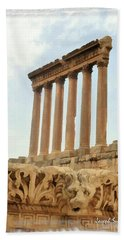 Do-00314 The 6 Corinthian Columns In Baalbeck Bath Towel by Digital Oil