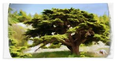 Do-00319 Cedar Tree Bath Towel by Digital Oil