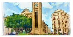 Do-00358 The Clock Tower Bath Towel by Digital Oil