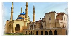 Bath Towel featuring the photograph Do-00362al Amin Mosque And St George Maronite Cathedral by Digital Oil